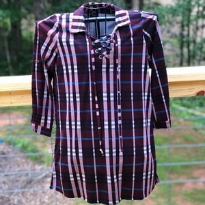 CalStyle Plaid Collared Lace Up Dress Size Small